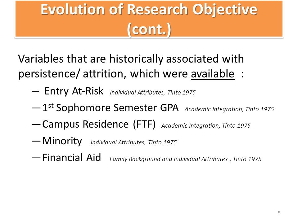 Evolution of Research Objective (cont.) Variables that are historically associated with persistence/ attrition, which were available : — Entry At-Risk