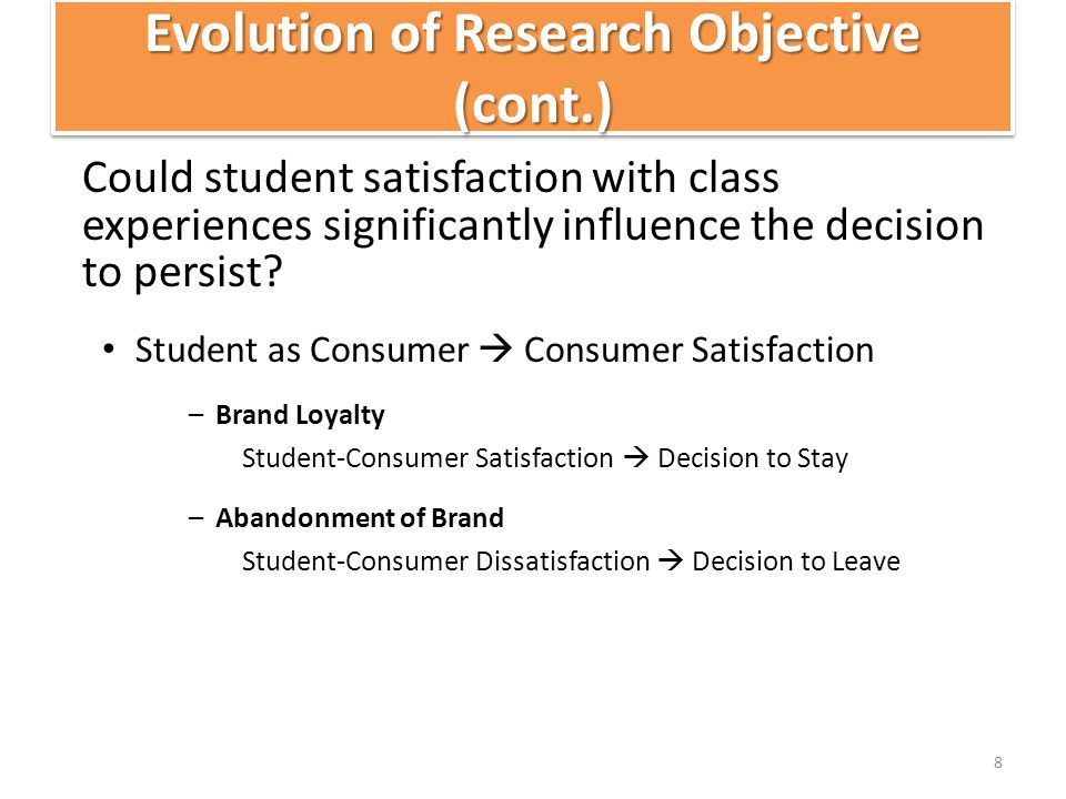 DiscussionDiscussion %Q42Coded & %Q41Coded – Represent the Customer Satisfaction hypothesis in this study, and while both of these variables are statistically significant contributors to the prediction of sophomore retention, the observed nature of their relationship to retention is not logically explained.