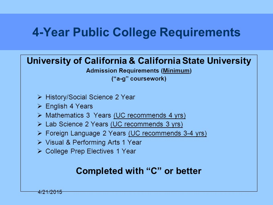 """4-Year Public College Requirements University of California & California State University Admission Requirements (Minimum) (""""a-g"""" coursework)  Histor"""