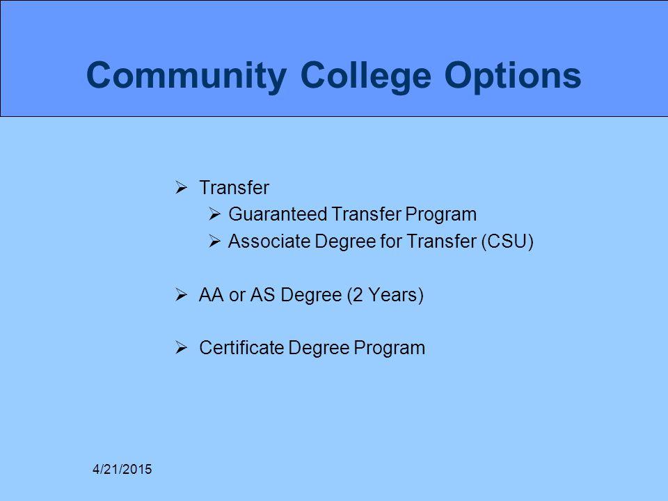 Community College Options  Transfer  Guaranteed Transfer Program  Associate Degree for Transfer (CSU)  AA or AS Degree (2 Years)  Certificate Deg