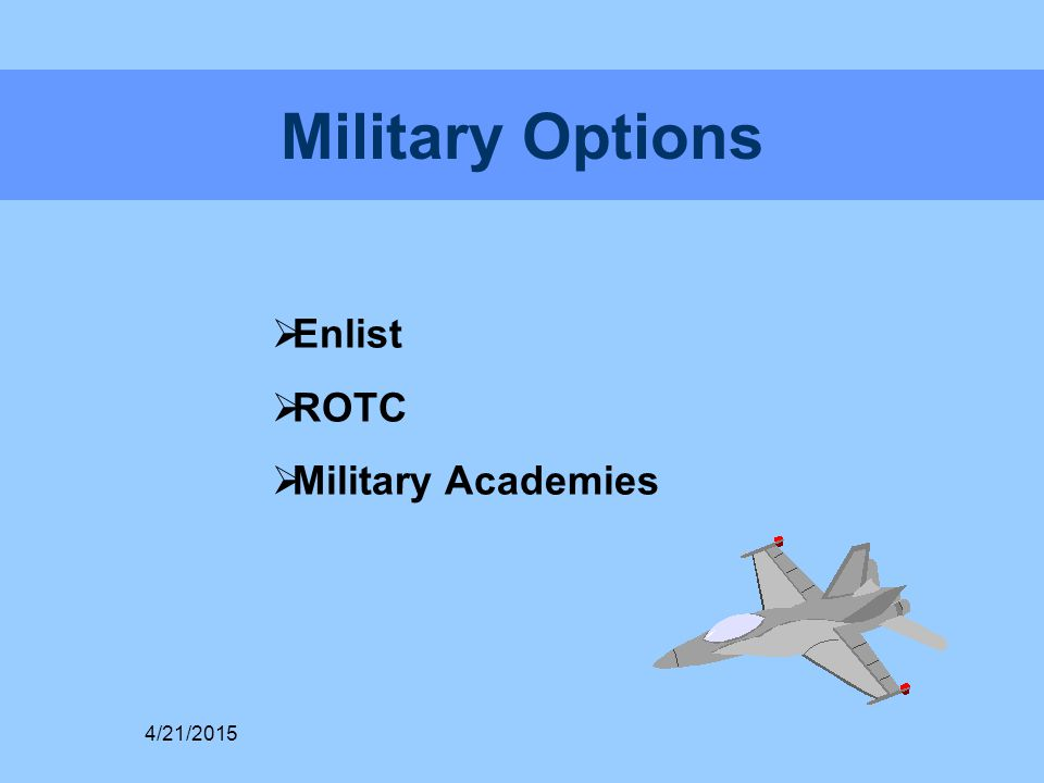 Military Options  Enlist  ROTC  Military Academies 4/21/2015