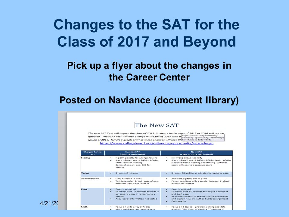 Changes to the SAT for the Class of 2017 and Beyond 4/21/2015 Pick up a flyer about the changes in the Career Center Posted on Naviance (document library)