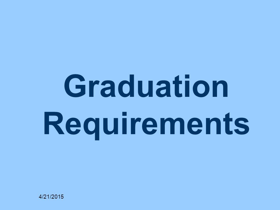 Graduation Requirements 4/21/2015