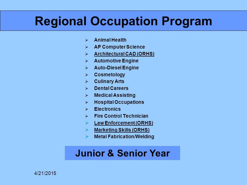 Regional Occupation Program  Animal Health  AP Computer Science  Architectural CAD (ORHS)  Automotive Engine  Auto-Diesel Engine  Cosmetology 