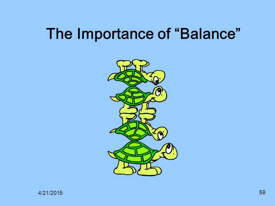 "4/21/2015 59 The Importance of ""Balance"""