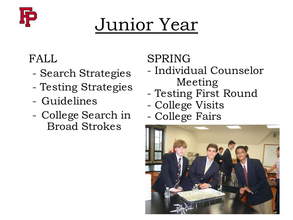 Junior Year FALL - Search Strategies - Testing Strategies -Guidelines -College Search in Broad Strokes SPRING - Individual Counselor Meeting - Testing First Round - College Visits - College Fairs