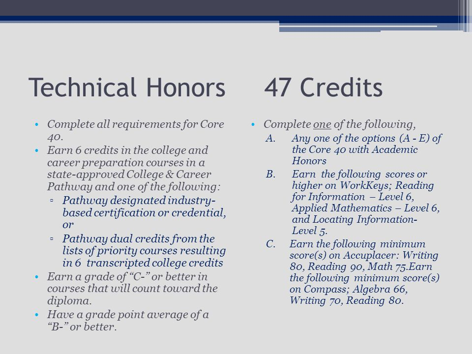 Technical Honors47 Credits Complete all requirements for Core 40.