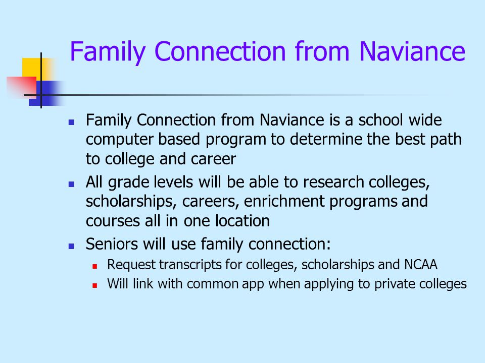 Family Connection from Naviance Family Connection from Naviance is a school wide computer based program to determine the best path to college and care