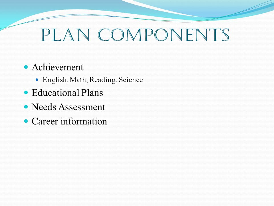 PLAN Components Achievement English, Math, Reading, Science Educational Plans Needs Assessment Career information