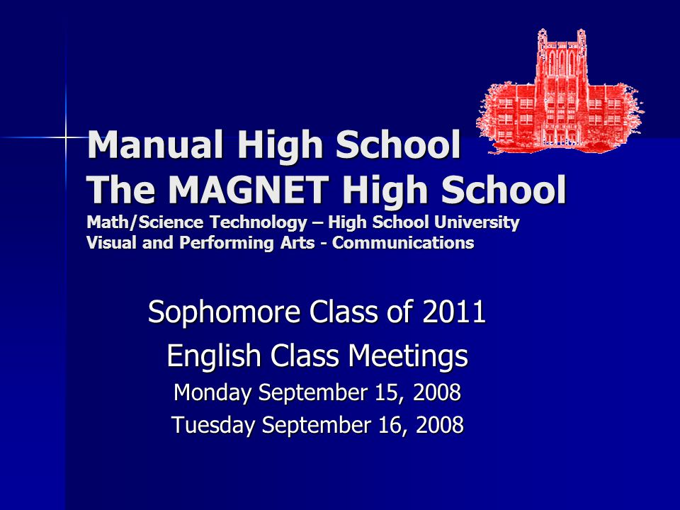 Manual High School The MAGNET High School Math/Science Technology – High School University Visual and Performing Arts - Communications Sophomore Class of 2011 English Class Meetings Monday September 15, 2008 Tuesday September 16, 2008