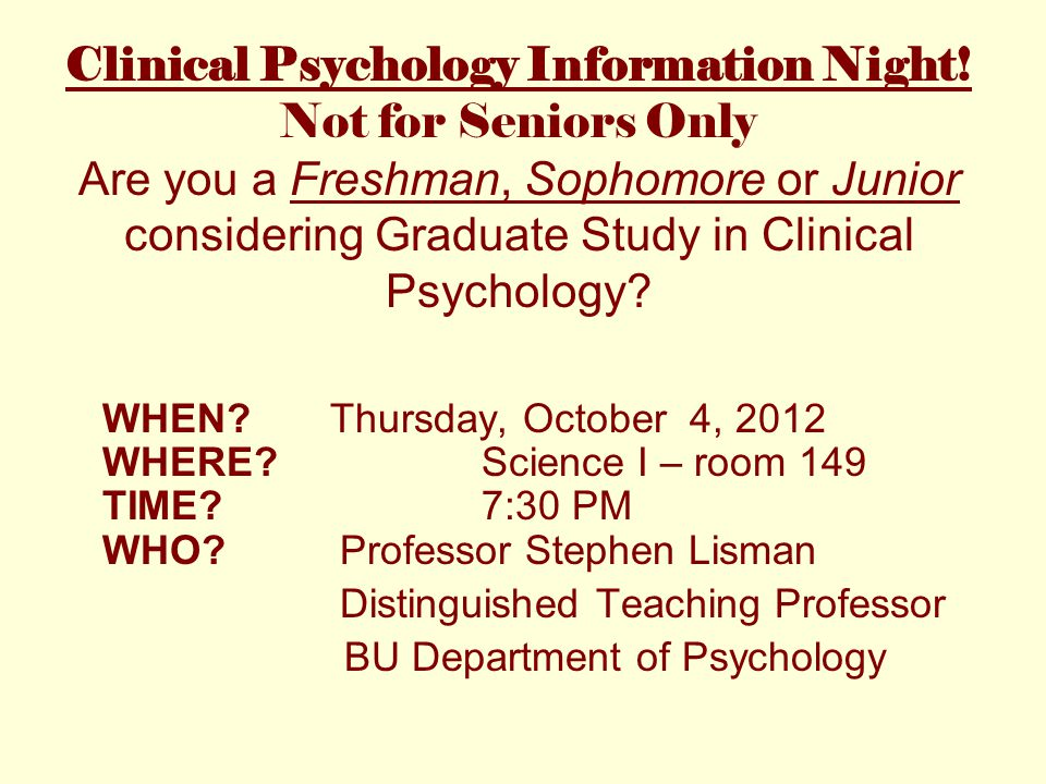 Clinical Psychology Information Night.
