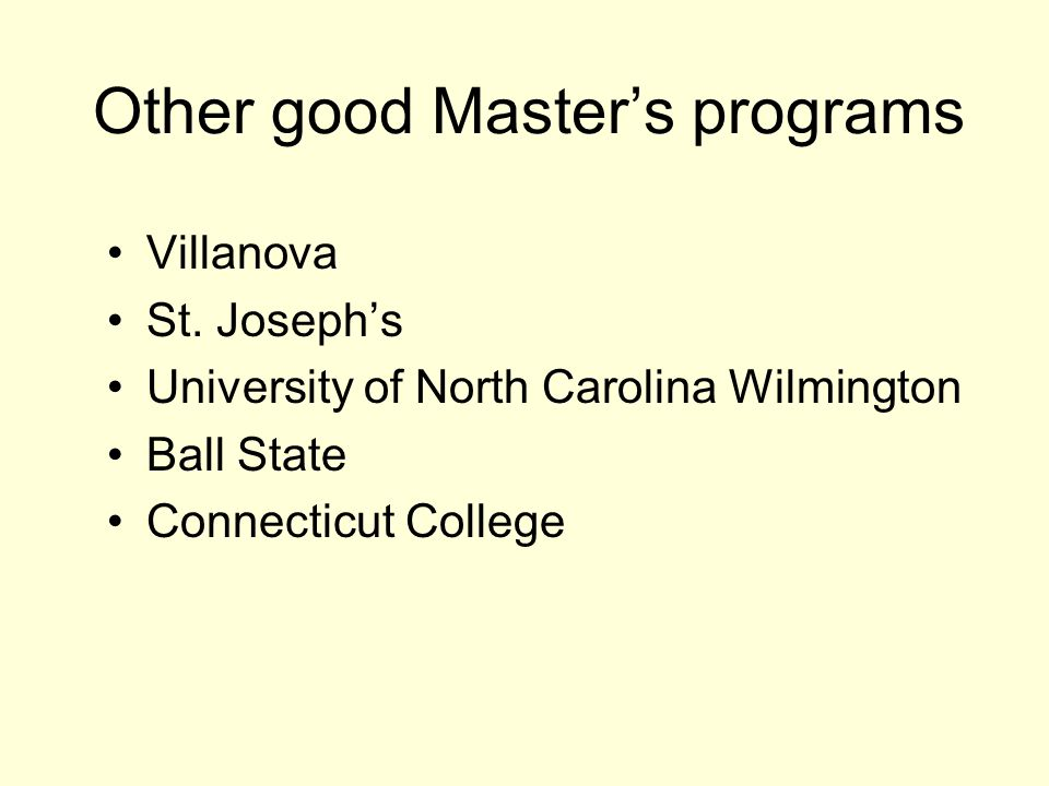 Other good Master's programs Villanova St.