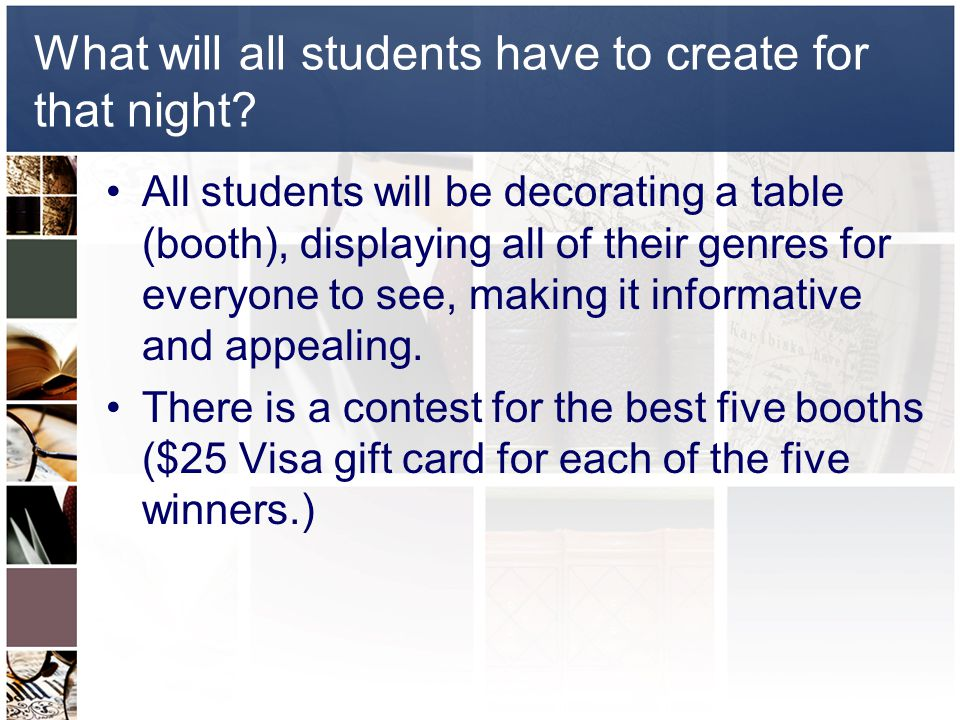 What will all students have to create for that night.