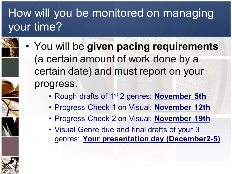 How will you be monitored on managing your time.