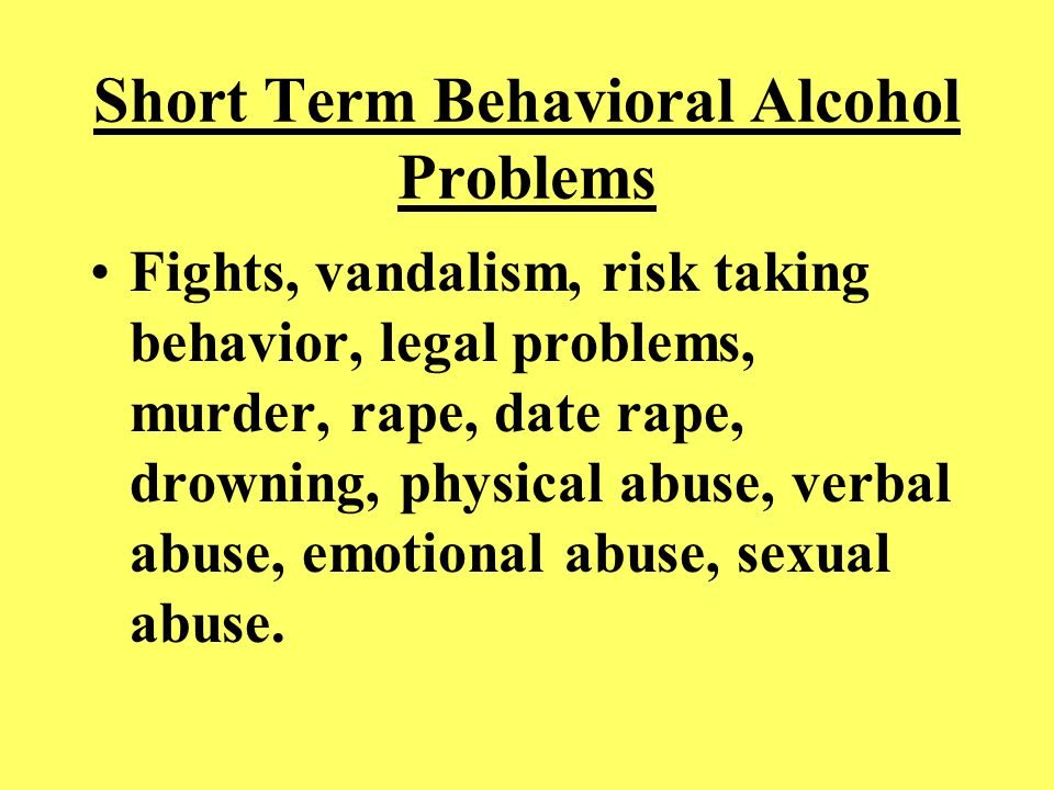 Short Term Academic Alcohol Problems Hurts classroom performance if you are drunk or hung over, school behavior problems, absenteeism, tardies to school and class, classroom disruptions, AER, suspensions, failing grades.