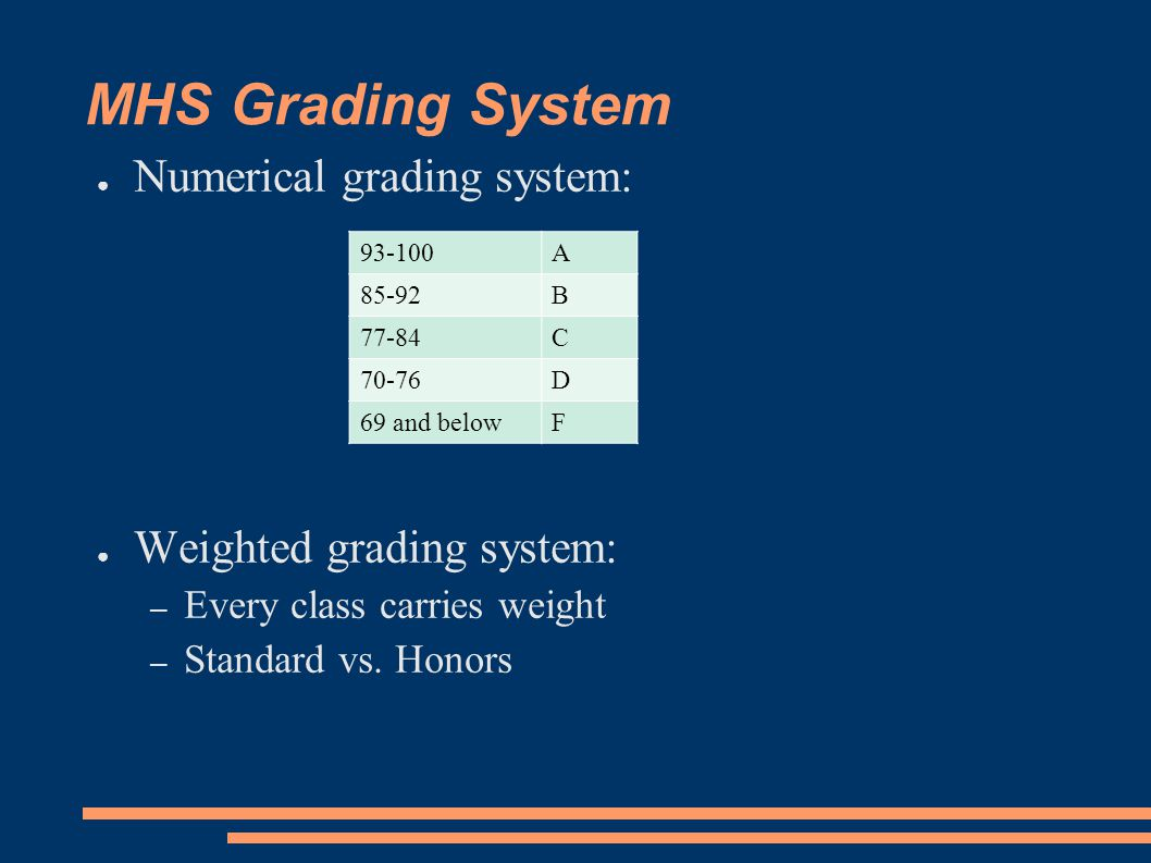 MHS Grading System ● Numerical grading system: ● Weighted grading system: – Every class carries weight – Standard vs.