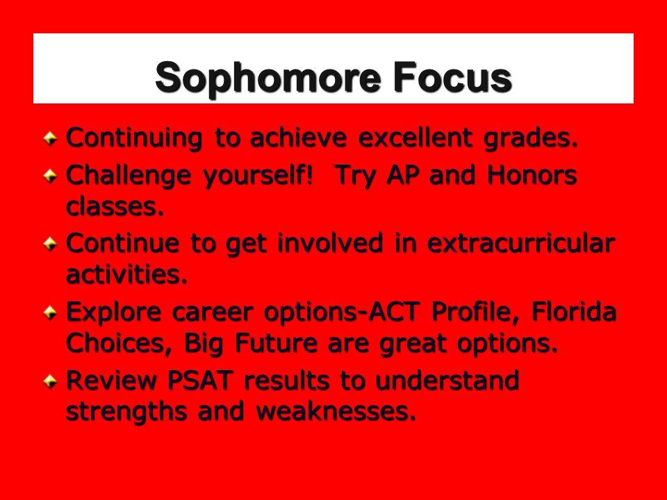Sophomore Focus Continuing to achieve excellent grades.