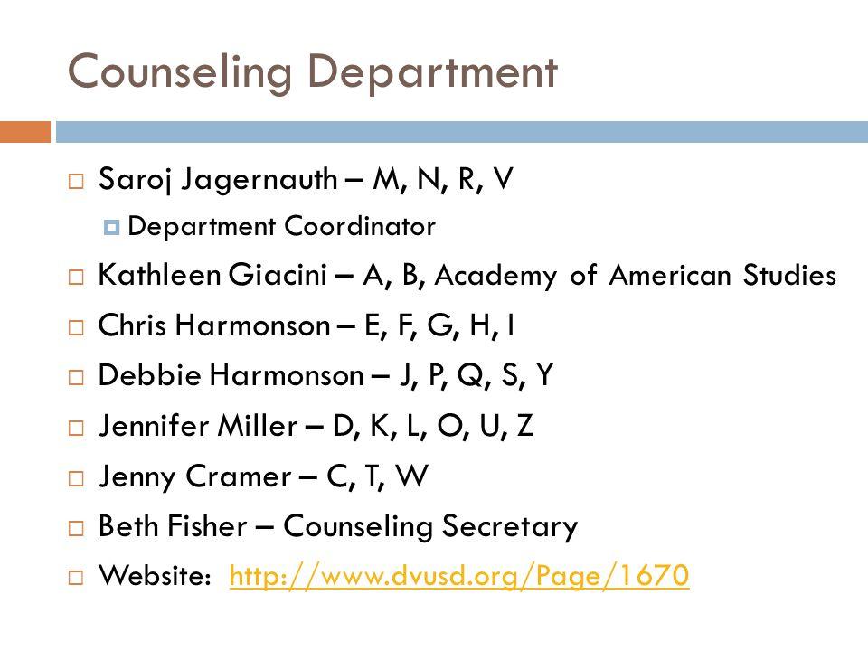 Counseling Department  Saroj Jagernauth – M, N, R, V  Department Coordinator  Kathleen Giacini – A, B, Academy of American Studies  Chris Harmonso