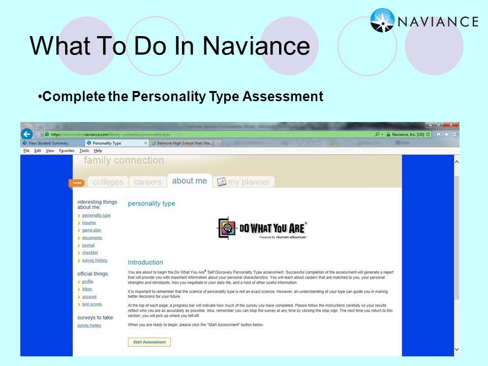 What To Do In Naviance Complete the Career Interest Profiler