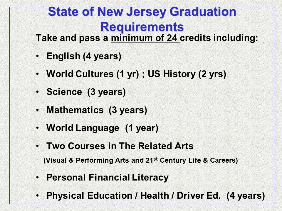 Grade 9 Grade Credits Algebra 1 A 1.00 Biology 1 A- 1.33 Computer Input & Applications A 1.00 English 1 B+ 1.00 Innovation & Invention 1 A 1.00 Physical Education 1 A 1.00 Spanish 2 B+ 1.00 World Civilization/Culture B+ 1.00 Year Earned Credits: 8.330 Grade 10 Grade Credits Geometry A 1.00 Chemistry A- 1.33 English 1I H B+ 1.00 Innovation & Invention II1 A 1.00 Physical Education 2 A 0.75 Drivers Education A 0.25 Sophomore Health A 0.75 Spanish 3 B+ 1.00 US History I B+ 1.00 Year Earned Credits: 7.330 Grade 11 Grade Credits Algebra II A 1.00 Physics A- 1.33 English 1II H B+ 1.00 Engineering Design H A 1.00 Physical Education 3 A 0.75 Junior Health A 0.25 Spanish 4 B+ 1.00 US History II B+ 1.00 Year Earned Credits: 7.330 Grade 12 Grade Credits- Courses in Progress Potential credits Accounting H 1.00 AP English Literature 1.00 AP World History 1.00 Applications of Science 1.00 Pre-calculus 1.00 Physical Education 4 0.75 Senior Health 0.25 Spanish 5 1.00 Year Earned Credits: Grade Scale A+ 98-100 C+ 78-79 W Withdrew Pass A 92-97 C 72-77 U Withdrew Fail A- 90-91 C- 70-71 X Medical Excuse B+ 88-89 D 60-69 P Passing B 82-87 F below 60 AU Audit B- 80-81 I Incomplete T Administrative Withdrawal Public High School (Grades 9 - 12) Accredited By: Middle State Association of Colleges and Secondary Schools New Jersey Department of Education Honors and AP grades are weighted in computing GPA.