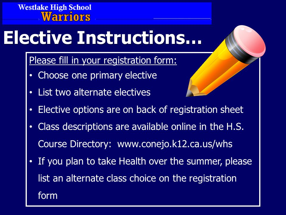 Elective Instructions… Please fill in your registration form: Choose one primary elective List two alternate electives Elective options are on back of registration sheet Class descriptions are available online in the H.S.