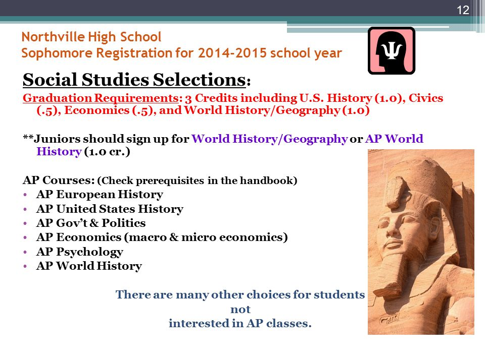 Northville High School Sophomore Registration for 2014-2015 school year Science Selections: Graduation Requirements: 3 Credits including Biology (1.0) and Chemistry (1.0) OR Physics (1.0) + Science Electives (1.0).
