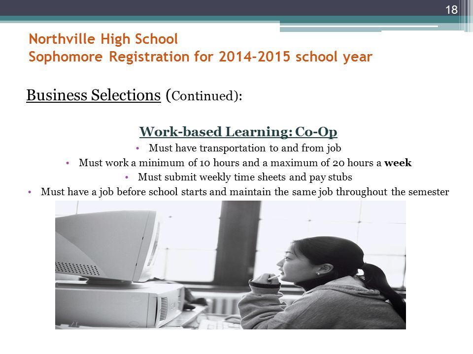 Northville High School Sophomore Registration for 2014-2015 school year Business Selections: There are many courses available; check prerequisites carefully.