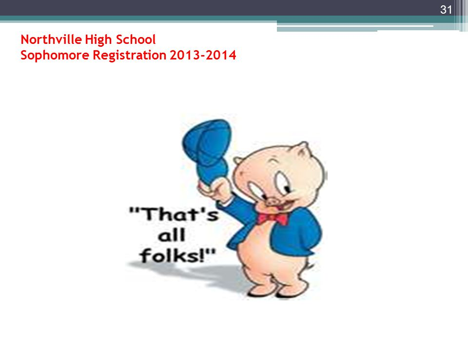 Northville High School Sophomore Registration for 2014-2015 school year IV.