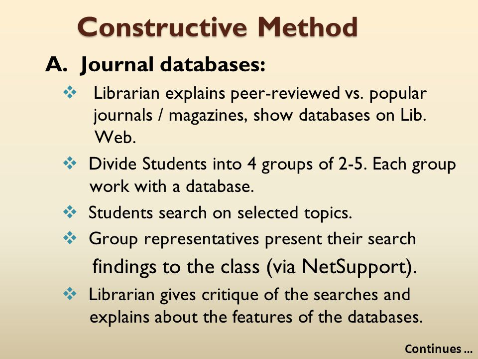 Constructive Method A. Journal databases:  Librarian explains peer-reviewed vs. popular journals / magazines, show databases on Lib. Web.  Divide St