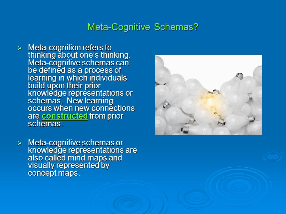Meta-Cognitive Schemas?  Meta-cognition refers to thinking about one's thinking. Meta-cognitive schemas can be defined as a process of learning in wh