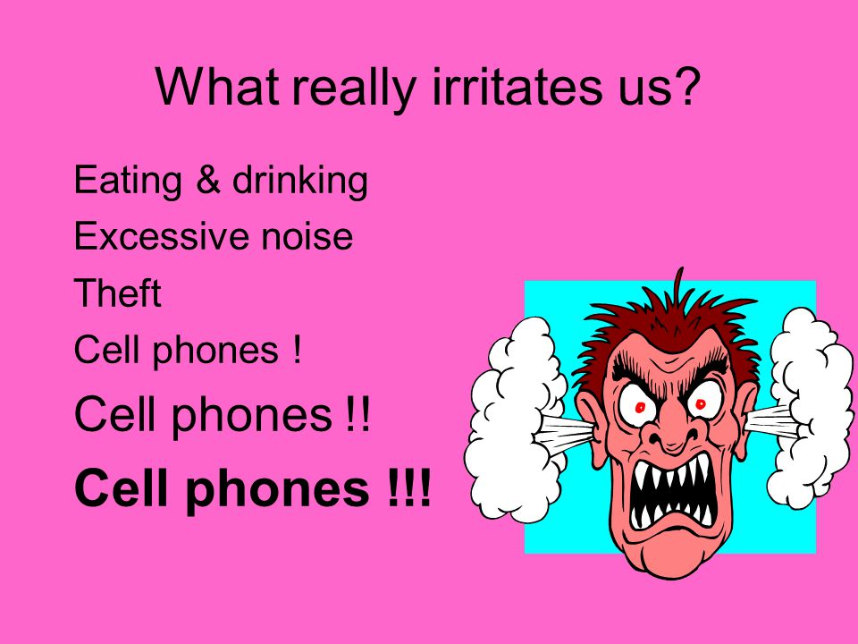 What really irritates us? Eating & drinking Excessive noise Theft Cell phones ! Cell phones !! Cell phones !!!