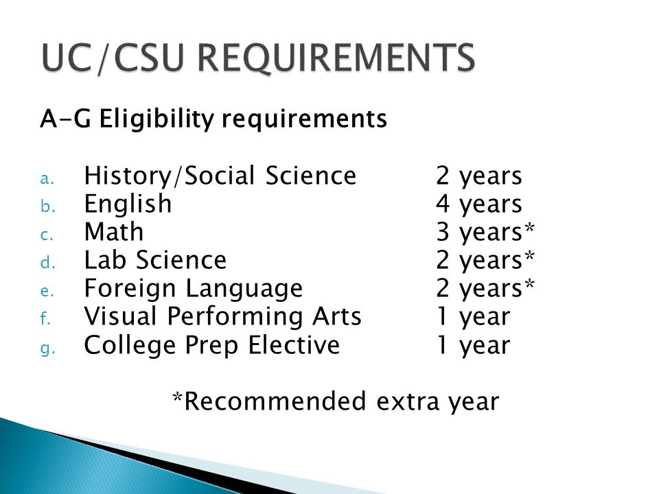 A-G Eligibility requirements a. History/Social Science2 years b.