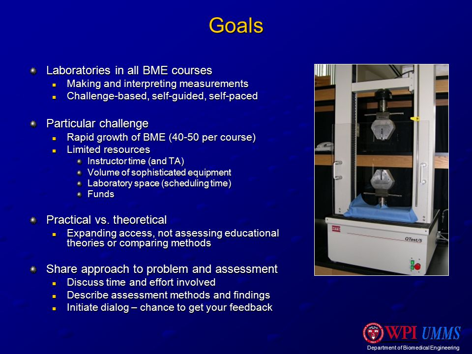 Department of Biomedical Engineering Goals Laboratories in all BME courses Making and interpreting measurements Making and interpreting measurements Challenge-based, self-guided, self-paced Challenge-based, self-guided, self-paced Particular challenge Rapid growth of BME (40-50 per course) Rapid growth of BME (40-50 per course) Limited resources Limited resources Instructor time (and TA) Volume of sophisticated equipment Laboratory space (scheduling time) Funds Practical vs.