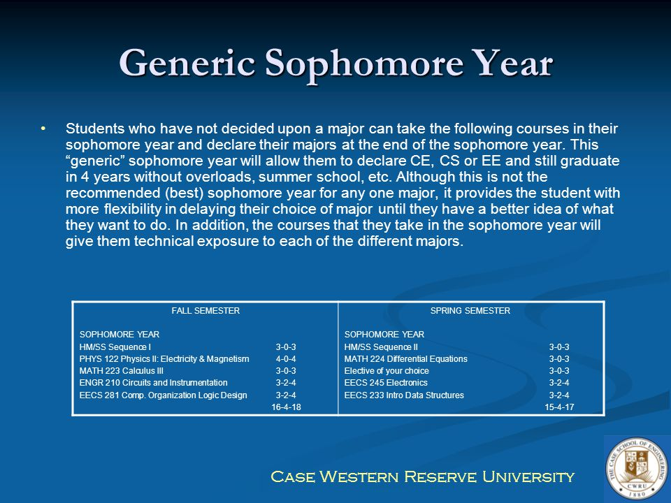 Case Western Reserve University Generic Sophomore Year Students who have not decided upon a major can take the following courses in their sophomore ye