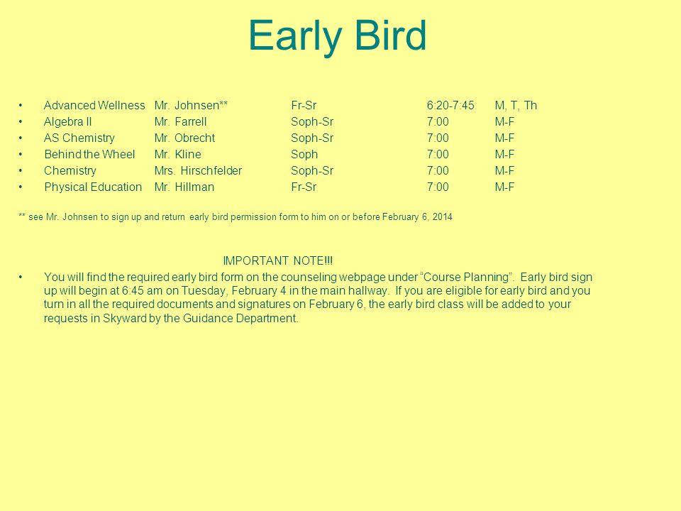 Early Bird Advanced WellnessMr. Johnsen**Fr-Sr6:20-7:45M, T, Th Algebra IIMr.