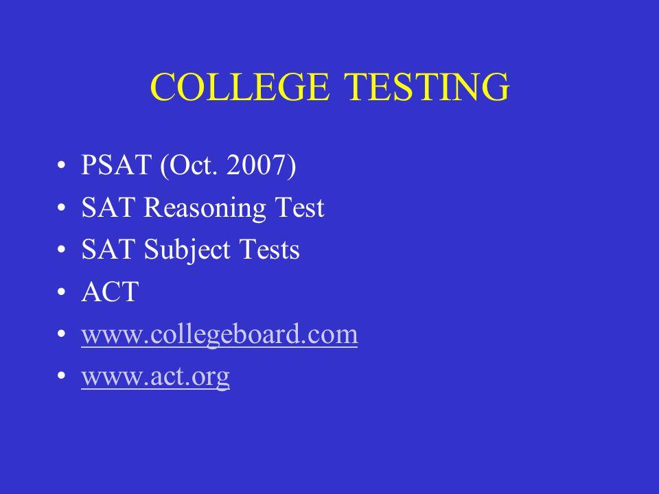 COLLEGE TESTING PSAT (Oct.