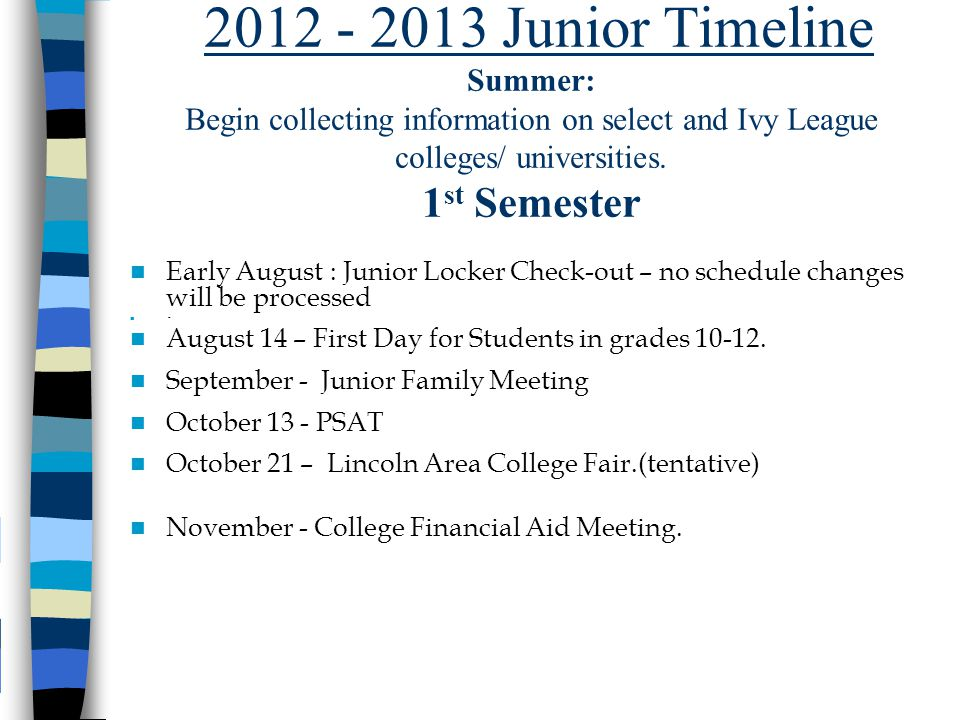 2012 - 2013 Junior Timeline Summer: Begin collecting information on select and Ivy League colleges/ universities.
