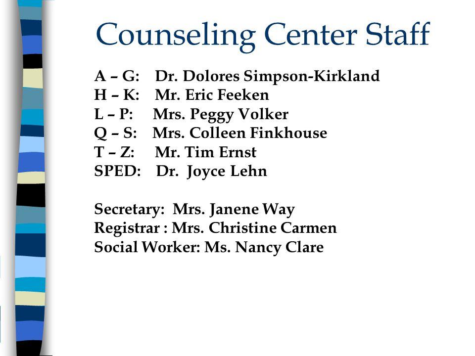Counseling Center Staff A – G: Dr. Dolores Simpson-Kirkland H – K: Mr. Eric Feeken L – P: Mrs. Peggy Volker Q – S: Mrs. Colleen Finkhouse T – Z: Mr. T