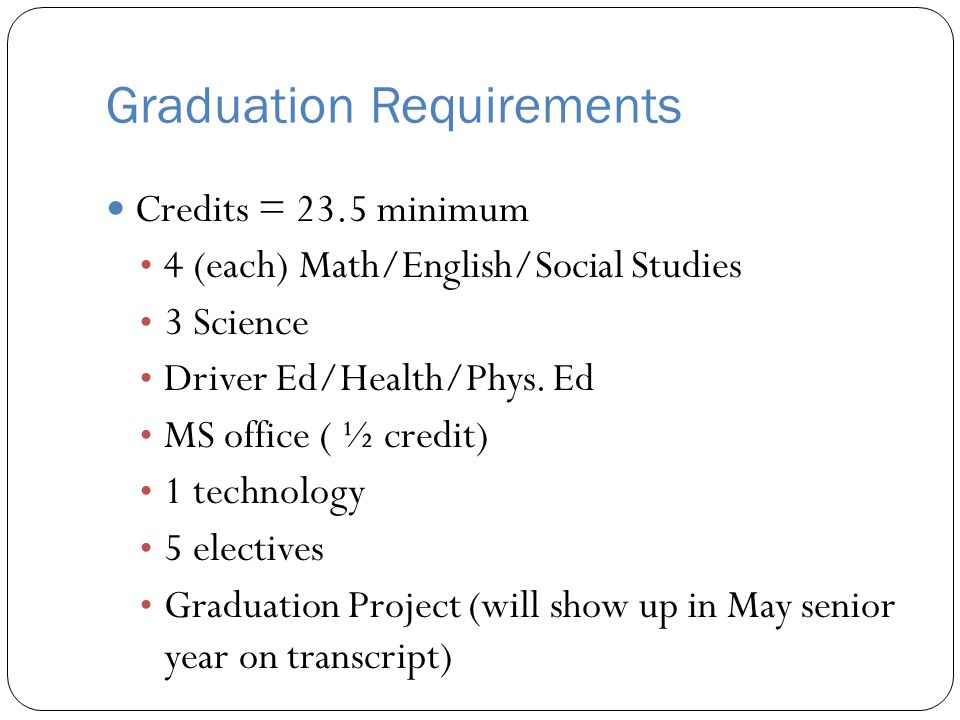 Graduation Requirements Credits = 23.5 minimum 4 (each) Math/English/Social Studies 3 Science Driver Ed/Health/Phys. Ed MS office ( ½ credit) 1 techno