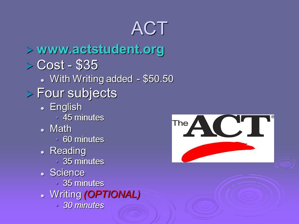 ACT  www.actstudent.org  Cost - $35 With Writing added - $50.50 With Writing added - $50.50  Four subjects English English 45 minutes45 minutes Mat