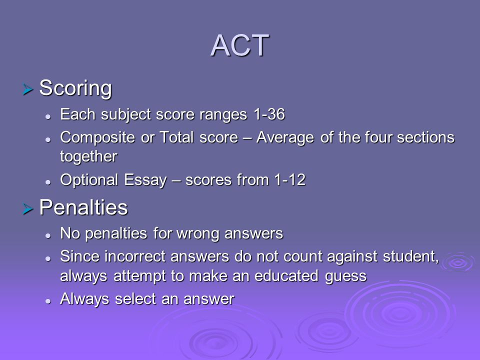 ACT  Scoring Each subject score ranges 1-36 Each subject score ranges 1-36 Composite or Total score – Average of the four sections together Composite