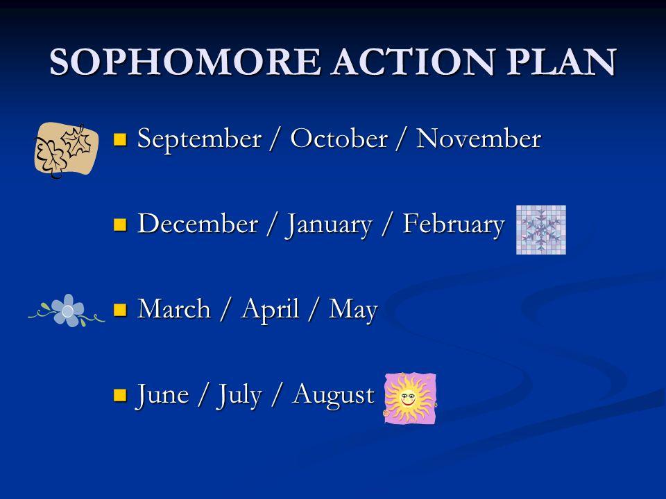 SOPHOMORE ACTION PLAN September / October / November September / October / November December / January / February December / January / February March / April / May March / April / May June / July / August June / July / August