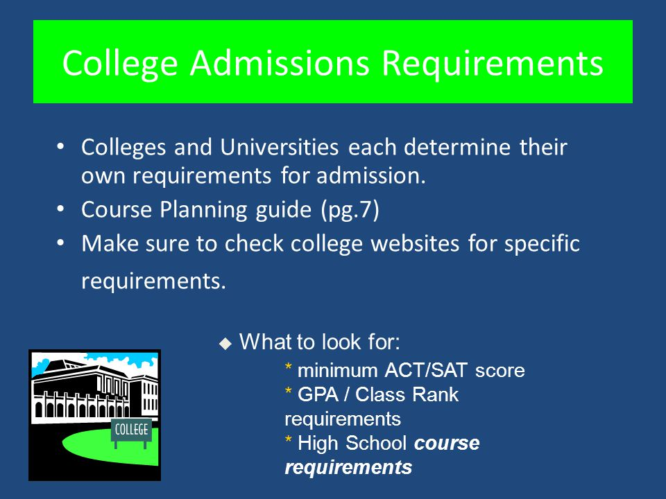 College Admissions Requirements Colleges and Universities each determine their own requirements for admission. Course Planning guide (pg.7) Make sure