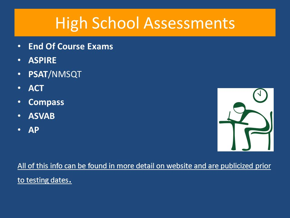High School Assessments End Of Course Exams ASPIRE PSAT/NMSQT ACT Compass ASVAB AP All of this info can be found in more detail on website and are pub
