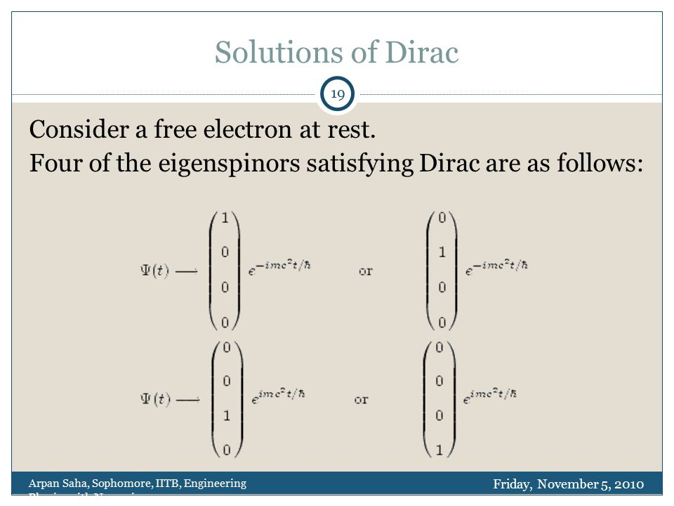Solutions of Dirac Consider a free electron at rest.