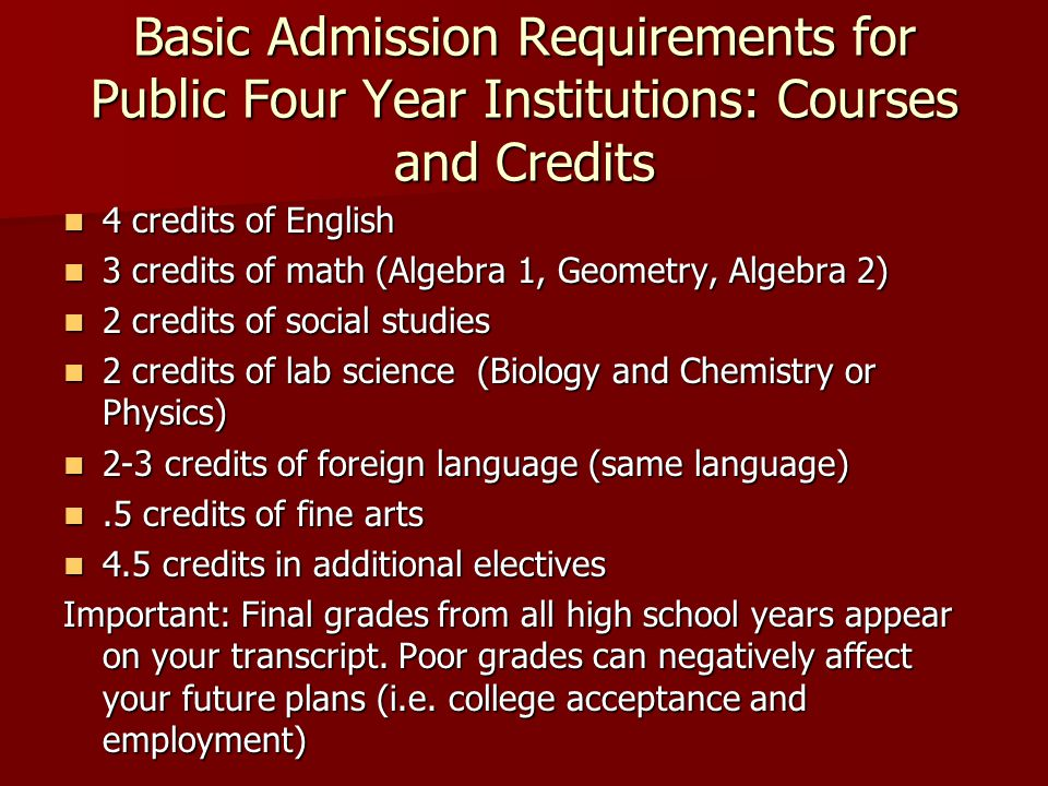 Basic Admission Requirements for Public Four Year Institutions: Courses and Credits 4 credits of English 4 credits of English 3 credits of math (Algebra 1, Geometry, Algebra 2) 3 credits of math (Algebra 1, Geometry, Algebra 2) 2 credits of social studies 2 credits of social studies 2 credits of lab science (Biology and Chemistry or Physics) 2 credits of lab science (Biology and Chemistry or Physics) 2-3 credits of foreign language (same language) 2-3 credits of foreign language (same language).5 credits of fine arts.5 credits of fine arts 4.5 credits in additional electives 4.5 credits in additional electives Important: Final grades from all high school years appear on your transcript.