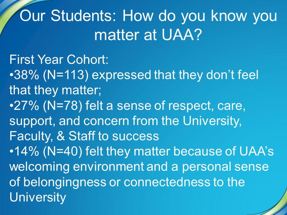 Our Students: How do you know you matter at UAA.