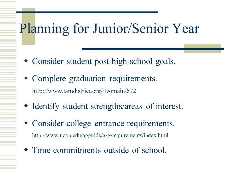 Planning for Junior/Senior Year  Consider student post high school goals.