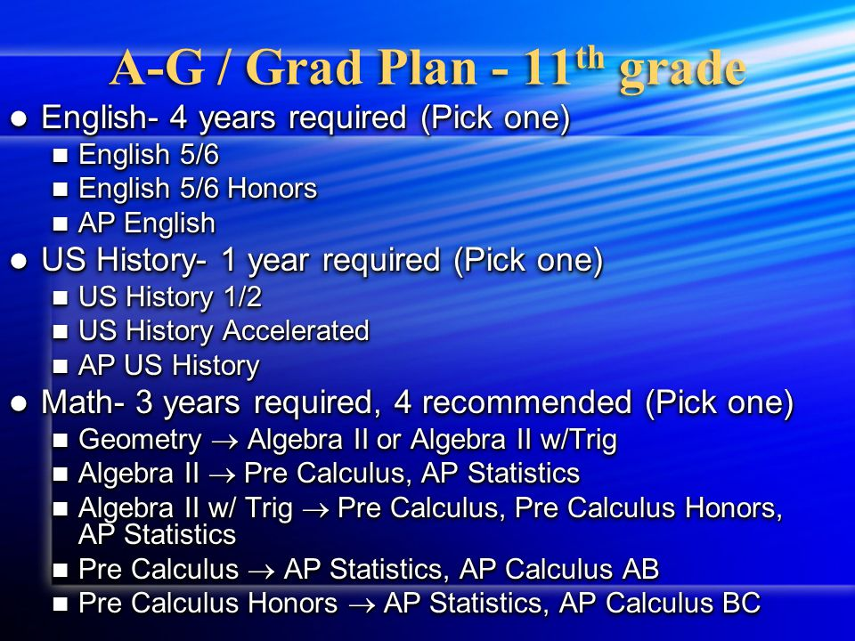 A-G / Grad Plan 9 th & 10 th grade Please fill in the 9th grade box with the classes listed on your transcript from 9th grade Please fill in the 9th grade box with the classes listed on your transcript from 9th grade List year long classes only one time List year long classes only one time Please fill in the 10th grade box with the six classes you are currently taking.
