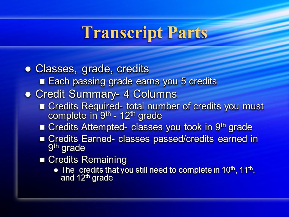 Transcript Permanent record of the classes you've taken and the grades you have earned in high school Permanent record of the classes you've taken and the grades you have earned in high school Follows you to every school you attend in high school Follows you to every school you attend in high school When a class is retaken, it is added to your transcript the year you took it.